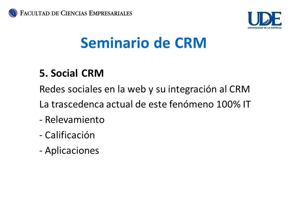 Seminario de CRM 5. Social CRM Redes sociales en la web y su integración al CRM La trascedenca actual de este fenómeno 100% IT - Relevamiento - Califi