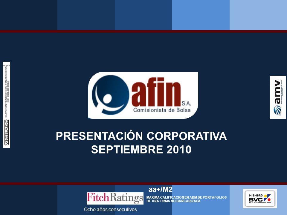 PRESENTACIÓN CORPORATIVA SEPTIEMBRE 2010 Ocho años consecutivos aa+/M2 MAXIMA CALIFICACION EN ADM DE PORTAFOLIOS DE UNA FIRMA NO BANCARIZADA