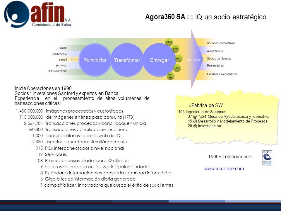 www.iq-online.com Inicia Operaciones en 1998 Socios : Inversiones Sanford y expertos en Banca Experiencia en el procesamiento de altos volúmenes de tr