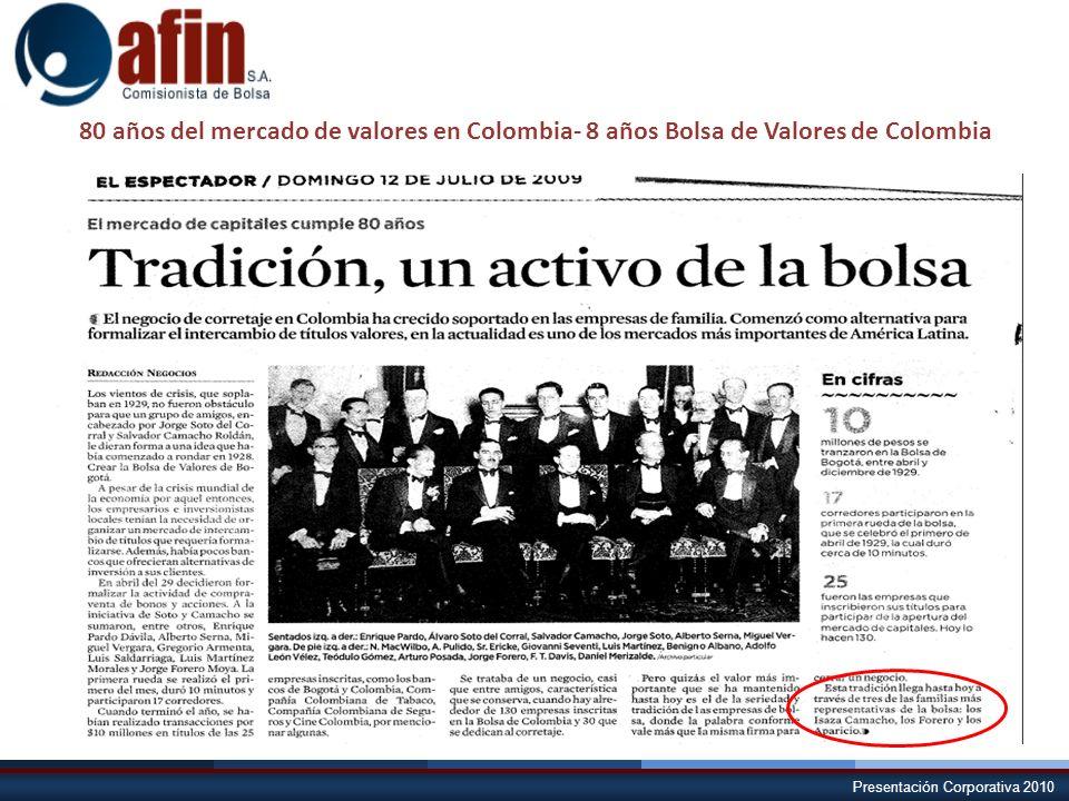 Presentación Corporativa 2010 80 años del mercado de valores en Colombia- 8 años Bolsa de Valores de Colombia