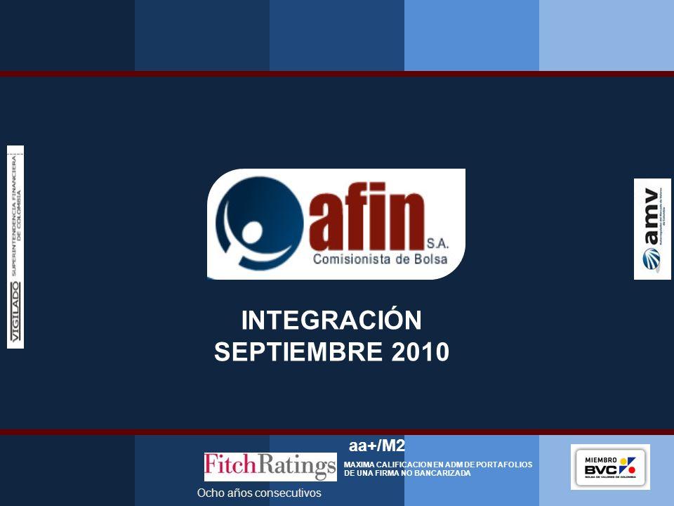 Presentación Corporativa 2010 INTEGRACIÓN SEPTIEMBRE 2010 Ocho años consecutivos aa+/M2 MAXIMA CALIFICACION EN ADM DE PORTAFOLIOS DE UNA FIRMA NO BANC