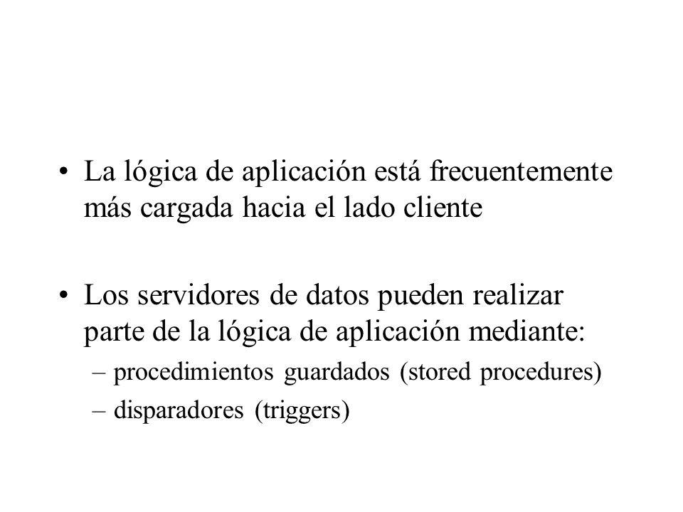 La lógica de aplicación está frecuentemente más cargada hacia el lado cliente Los servidores de datos pueden realizar parte de la lógica de aplicación