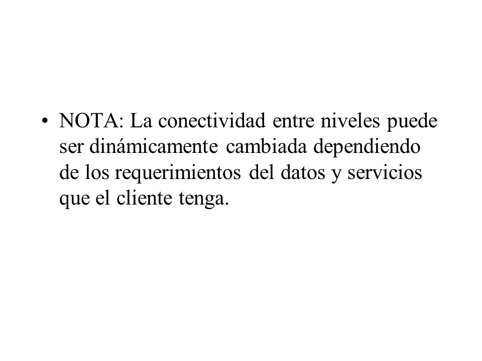 NOTA: La conectividad entre niveles puede ser dinámicamente cambiada dependiendo de los requerimientos del datos y servicios que el cliente tenga.
