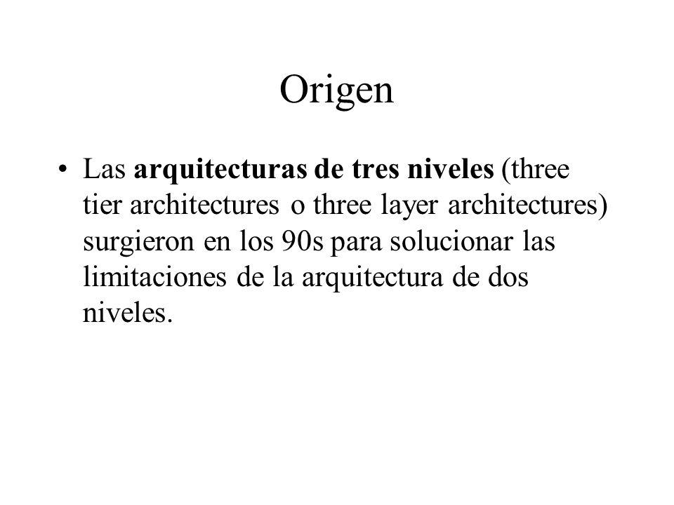 Origen Las arquitecturas de tres niveles (three tier architectures o three layer architectures) surgieron en los 90s para solucionar las limitaciones