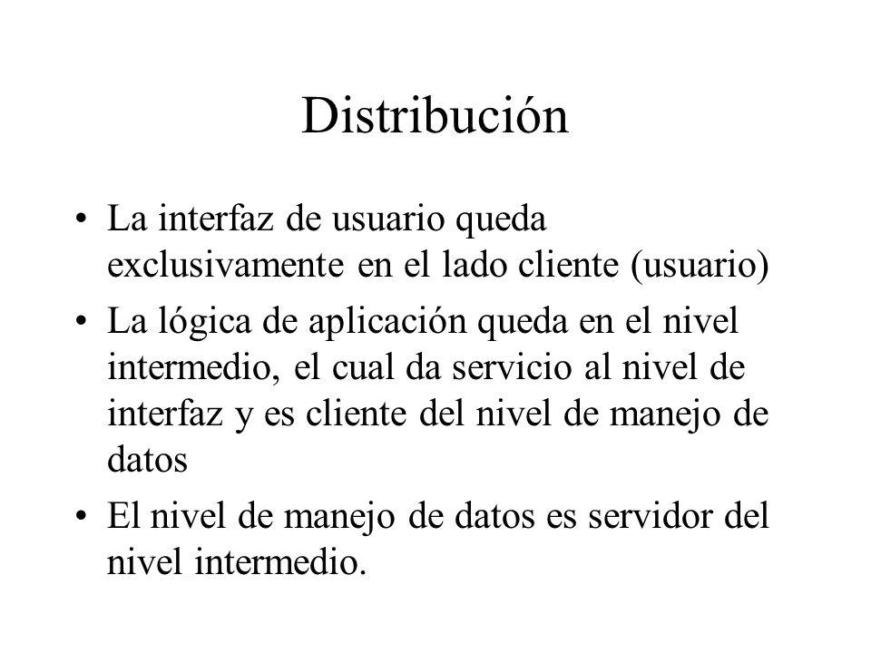 Distribución La interfaz de usuario queda exclusivamente en el lado cliente (usuario) La lógica de aplicación queda en el nivel intermedio, el cual da