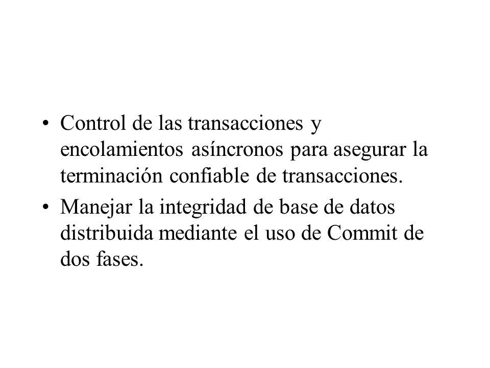 Control de las transacciones y encolamientos asíncronos para asegurar la terminación confiable de transacciones. Manejar la integridad de base de dato