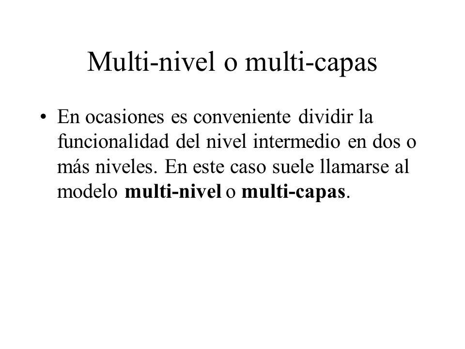 Multi-nivel o multi-capas En ocasiones es conveniente dividir la funcionalidad del nivel intermedio en dos o más niveles. En este caso suele llamarse