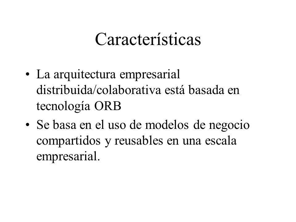 Características La arquitectura empresarial distribuida/colaborativa está basada en tecnología ORB Se basa en el uso de modelos de negocio compartidos
