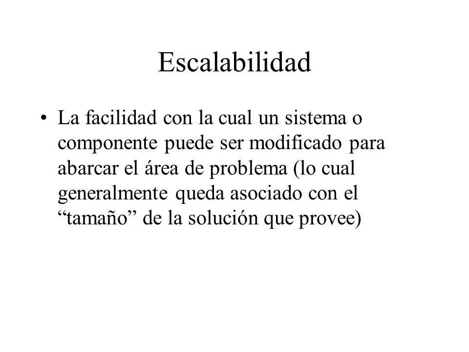 Escalabilidad La facilidad con la cual un sistema o componente puede ser modificado para abarcar el área de problema (lo cual generalmente queda asoci