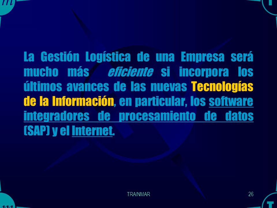 TRAINMAR25 ¿Cómo se efectúa la Integración Logística? Areas de la empresa : Se integran mediante sistemas de groupware que facilitan el trabajo en com