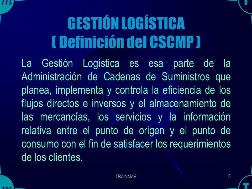 TRAINMAR5 Una Cadena de Suministro es: Una cadena de procesos esenciales de negocio, los cuales están vinculados por algunas formas de mecanismos de c