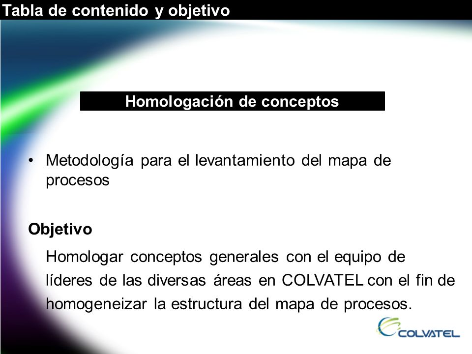 Metodología para el levantamiento del mapa de procesos Objetivo Homologar conceptos generales con el equipo de líderes de las diversas áreas en COLVAT