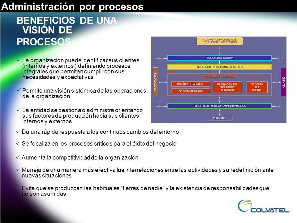 BENEFICIOS DE UNA VISIÓN DE PROCESOS : La organización puede identificar sus clientes (internos y externos ) definiendo procesos integrales que permit