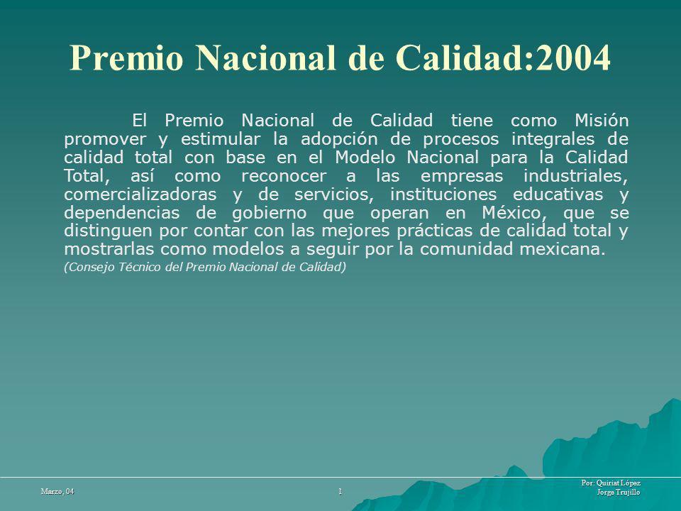 Por: Quiriat López Jorge Trujillo Marzo, 04 12 Premio Nacional de Calidad VS Malcom Baldrige El premio Malcom considera la motivación y efectividad del personal como parte del criterio del enfoque de recursos humanos, y el premio Nacional no considera estos puntos.