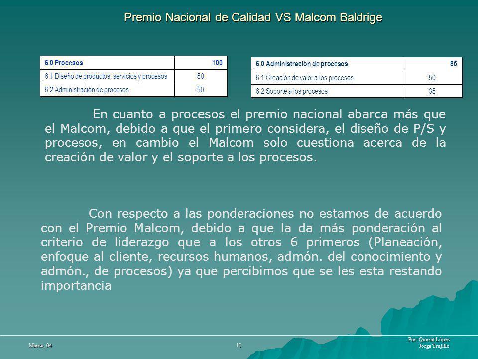 Por: Quiriat López Jorge Trujillo Marzo, 04 11 Premio Nacional de Calidad VS Malcom Baldrige En cuanto a procesos el premio nacional abarca más que el