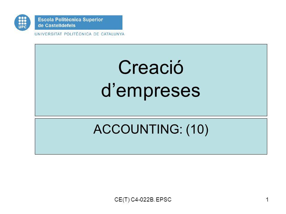 1 Creació dempreses ACCOUNTING: (10) CE(T) C4-022B. EPSC