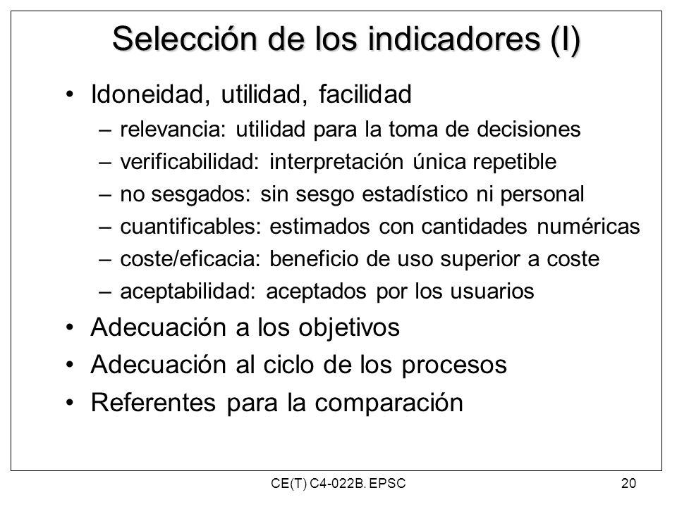 Selección de los indicadores (I) Idoneidad, utilidad, facilidad –relevancia: utilidad para la toma de decisiones –verificabilidad: interpretación únic