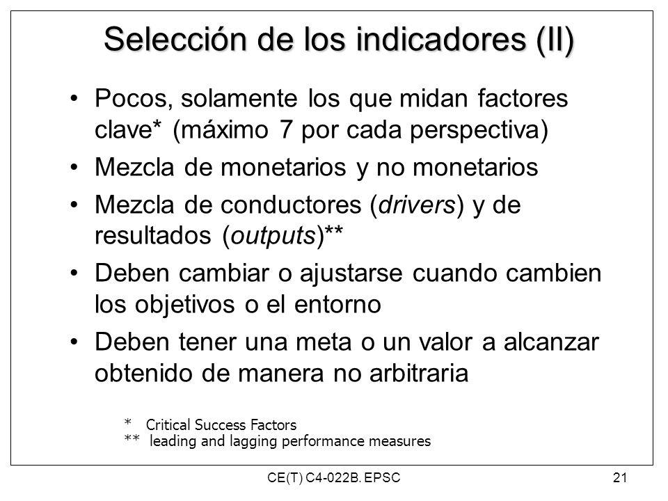 Selección de los indicadores (II) Pocos, solamente los que midan factores clave* (máximo 7 por cada perspectiva) Mezcla de monetarios y no monetarios