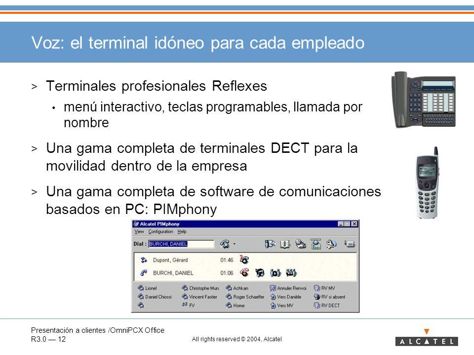 Presentación a clientes /OmniPCX Office R3.0 12 All rights reserved © 2004, Alcatel Voz: el terminal idóneo para cada empleado > Terminales profesiona