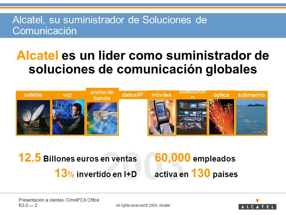 Presentación a clientes /OmniPCX Office R3.0 2 All rights reserved © 2004, Alcatel 2003 60,000 empleados activa en 130 países 60,000 empleados activa
