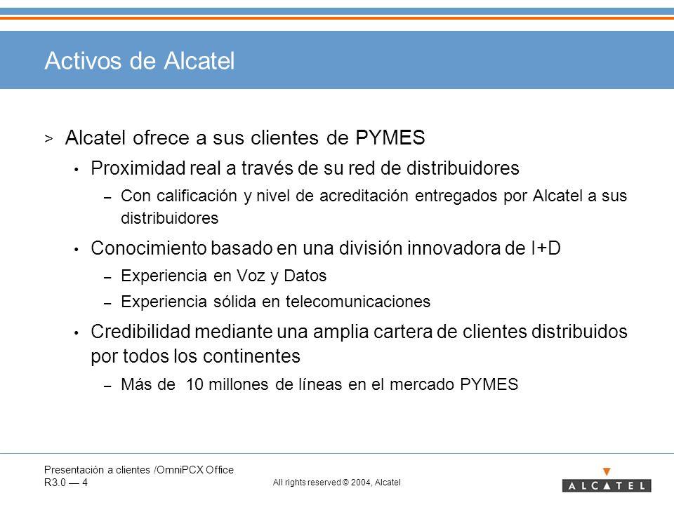 Presentación a clientes /OmniPCX Office R3.0 4 All rights reserved © 2004, Alcatel Activos de Alcatel > Alcatel ofrece a sus clientes de PYMES Proximi