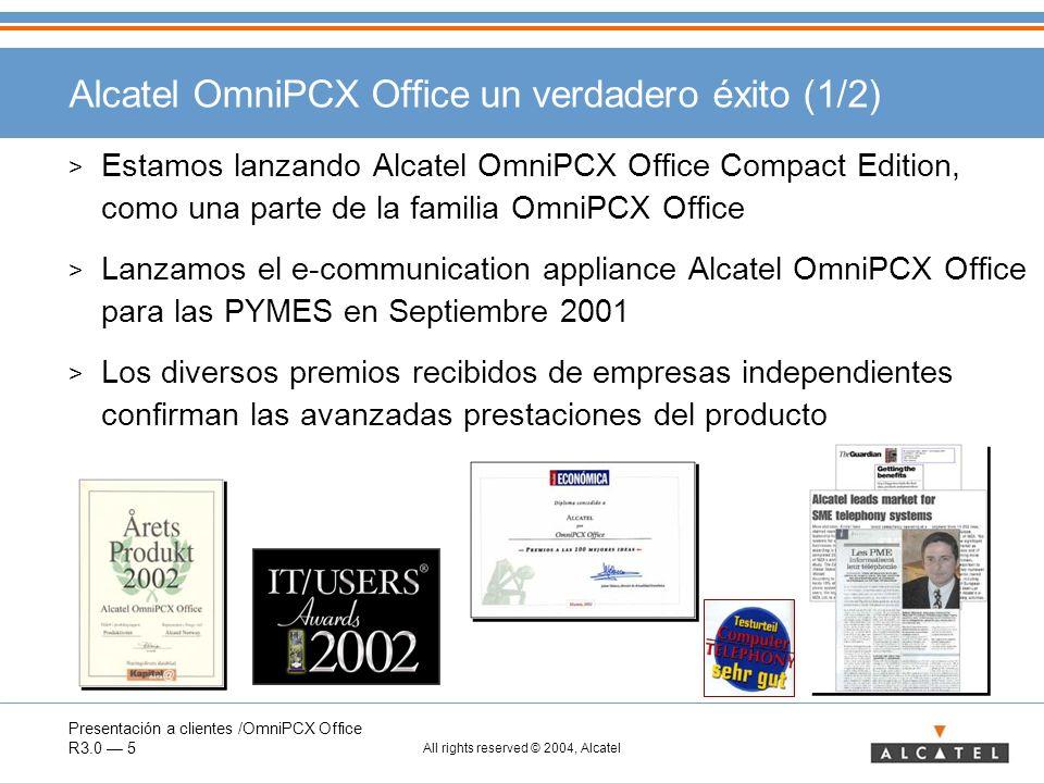 Presentación a clientes /OmniPCX Office R3.0 6 All rights reserved © 2004, Alcatel Alcatel OmniPCX Office un verdadero éxito (2/2) > Más de 80 000 clientes (finales de 2003) han mostrado su confianza en Alcatel comprando Alcatel OmniPCX Office