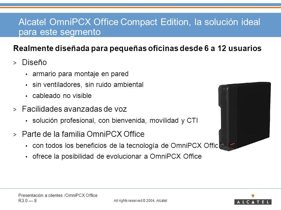 Presentación a clientes /OmniPCX Office R3.0 8 All rights reserved © 2004, Alcatel Alcatel OmniPCX Office Compact Edition, la solución ideal para este