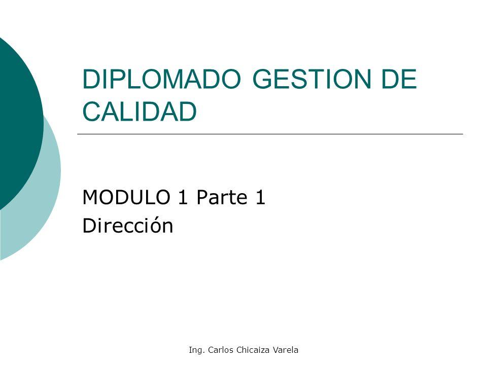 Ing. Carlos Chicaiza Varela DIPLOMADO GESTION DE CALIDAD MODULO 1 Parte 1 Dirección