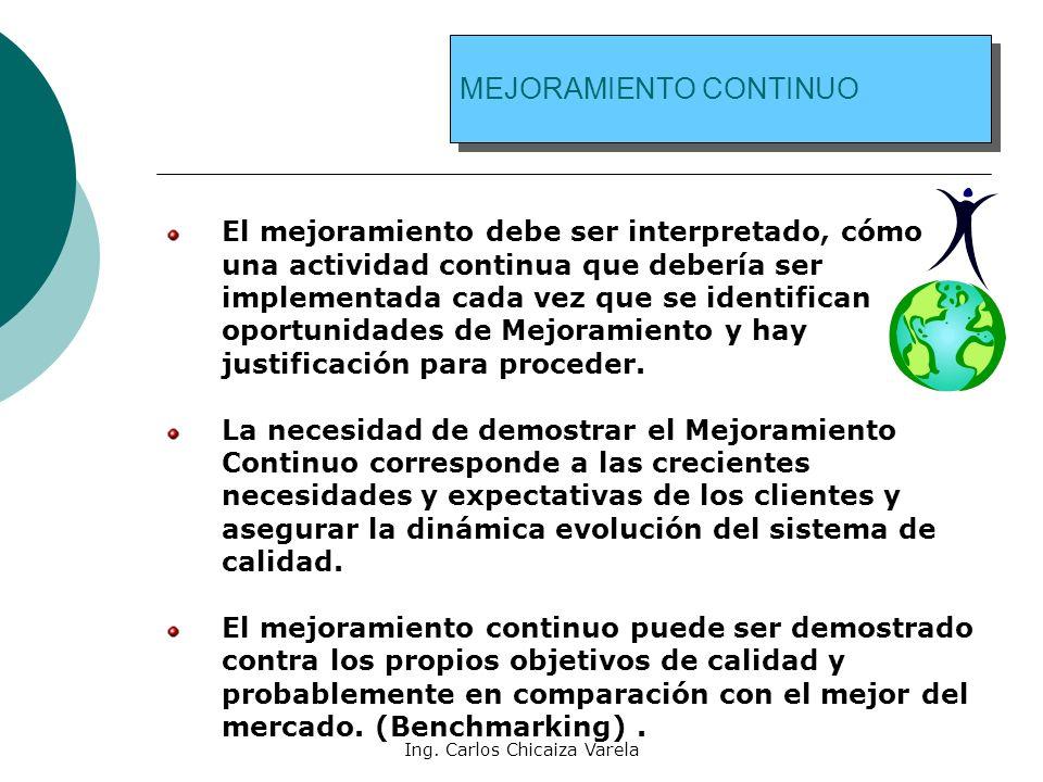Ing. Carlos Chicaiza Varela MEJORAMIENTO CONTINUO El mejoramiento debe ser interpretado, cómo una actividad continua que debería ser implementada cada