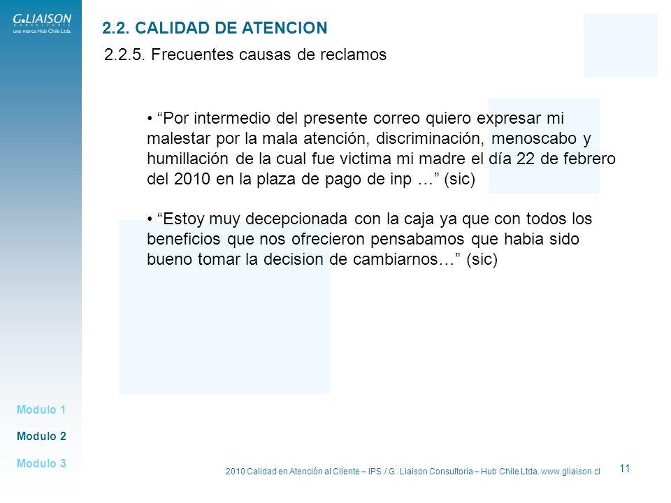 2010 Calidad en Atención al Cliente – IPS / G. Liaison Consultoría – Hub Chile Ltda. www.gliaison.cl 11 Modulo 2 Modulo 1 Modulo 3 2.2. CALIDAD DE ATE