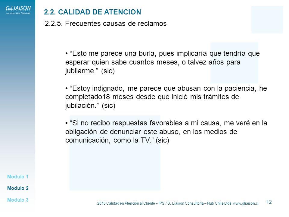 2010 Calidad en Atención al Cliente – IPS / G. Liaison Consultoría – Hub Chile Ltda. www.gliaison.cl 12 Modulo 2 Modulo 1 Modulo 3 2.2. CALIDAD DE ATE