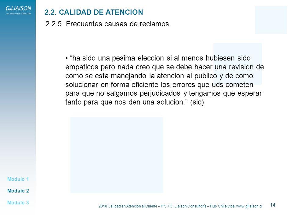 2010 Calidad en Atención al Cliente – IPS / G. Liaison Consultoría – Hub Chile Ltda. www.gliaison.cl 14 Modulo 2 Modulo 1 Modulo 3 2.2. CALIDAD DE ATE
