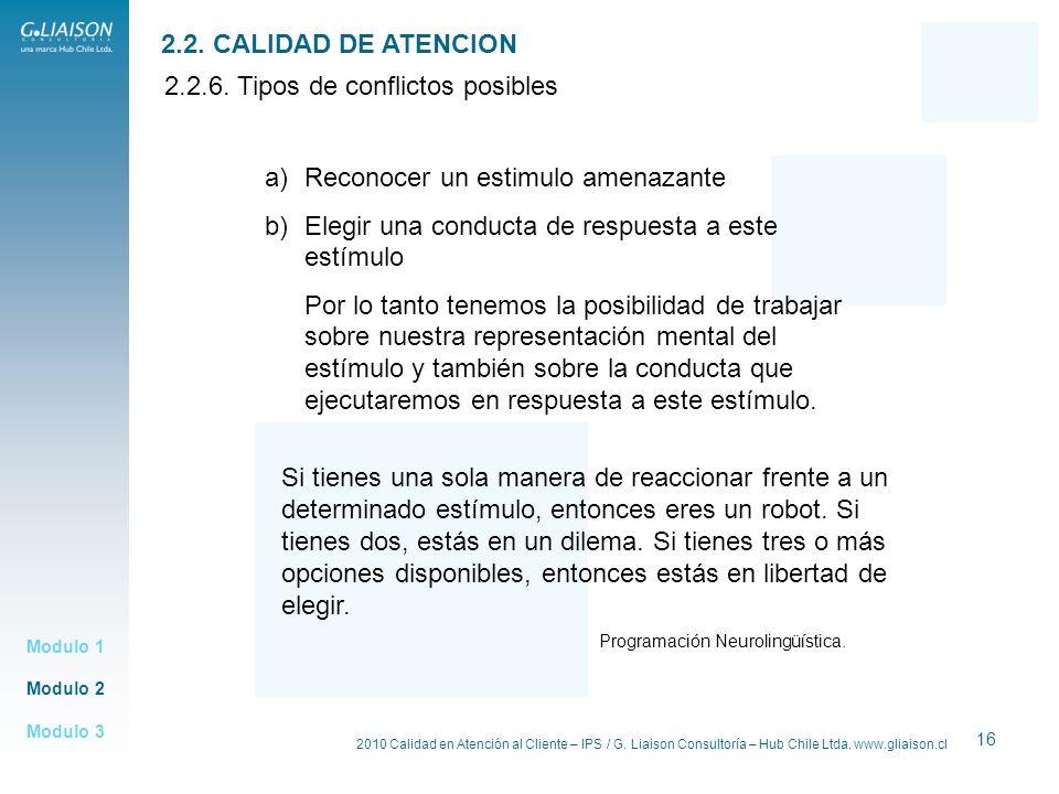 2010 Calidad en Atención al Cliente – IPS / G. Liaison Consultoría – Hub Chile Ltda. www.gliaison.cl 16 Modulo 2 Modulo 1 Modulo 3 2.2. CALIDAD DE ATE