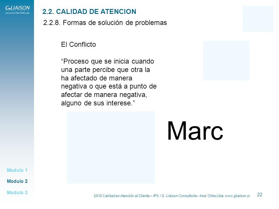 2010 Calidad en Atención al Cliente – IPS / G. Liaison Consultoría – Hub Chile Ltda. www.gliaison.cl 22 Modulo 2 Modulo 1 Modulo 3 2.2. CALIDAD DE ATE