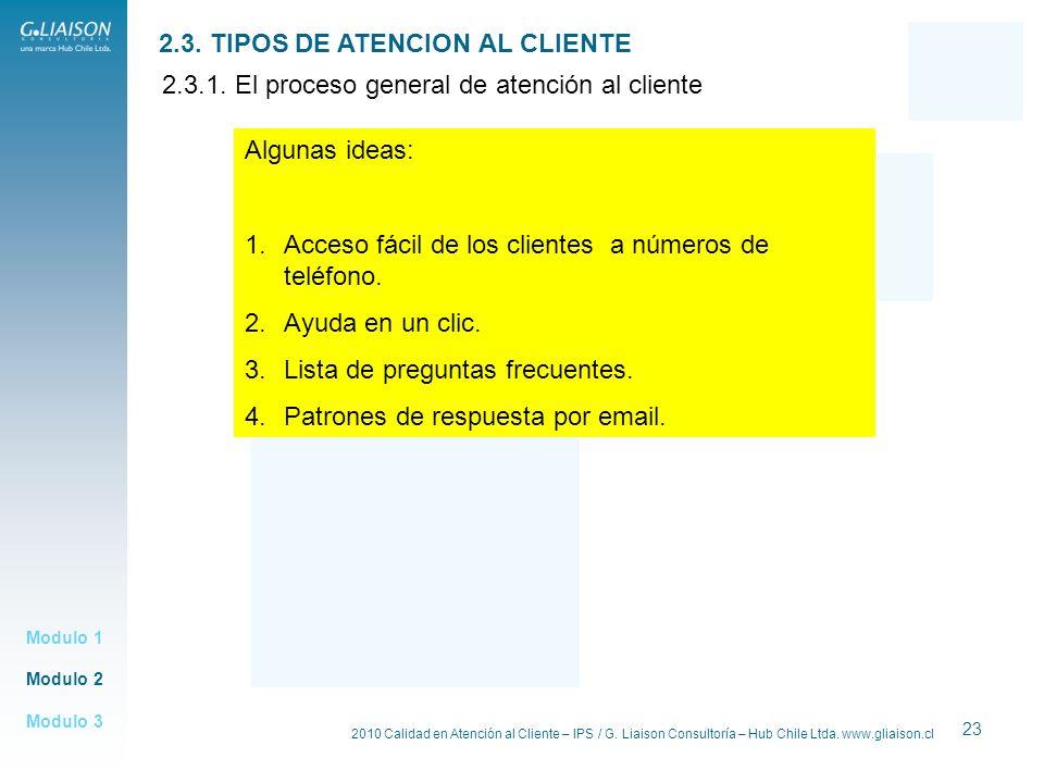 2010 Calidad en Atención al Cliente – IPS / G. Liaison Consultoría – Hub Chile Ltda. www.gliaison.cl 23 Modulo 2 Modulo 1 Modulo 3 2.3. TIPOS DE ATENC