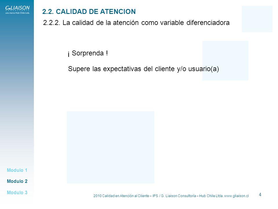 2010 Calidad en Atención al Cliente – IPS / G. Liaison Consultoría – Hub Chile Ltda. www.gliaison.cl 4 2.2.2. La calidad de la atención como variable