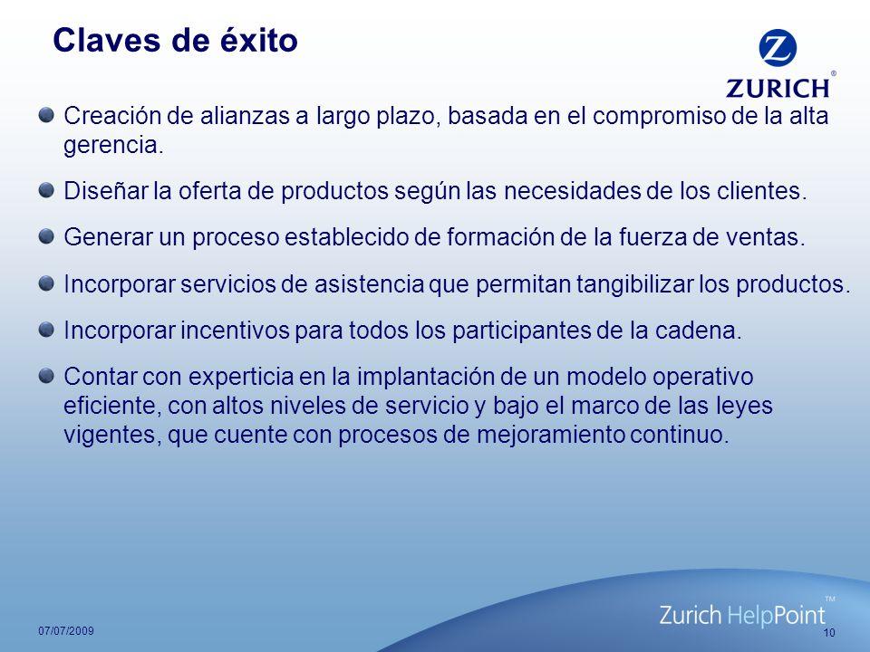 10 07/07/2009 Claves de éxito Creación de alianzas a largo plazo, basada en el compromiso de la alta gerencia. Diseñar la oferta de productos según la