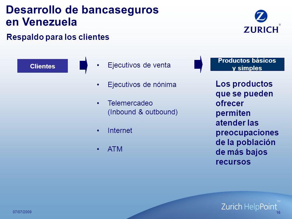 16 07/07/2009 Ejecutivos de venta Clientes Telemercadeo (Inbound & outbound) Internet ATM Productos básicos y simples Ejecutivos de nónima Desarrollo