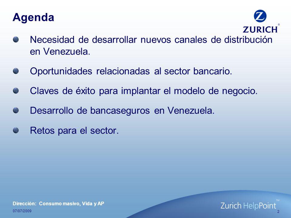 2 07/07/2009 Agenda Necesidad de desarrollar nuevos canales de distribución en Venezuela. Oportunidades relacionadas al sector bancario. Claves de éxi