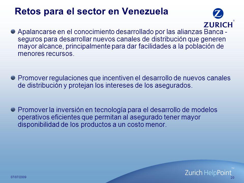 20 07/07/2009 Retos para el sector en Venezuela Apalancarse en el conocimiento desarrollado por las alianzas Banca - seguros para desarrollar nuevos c