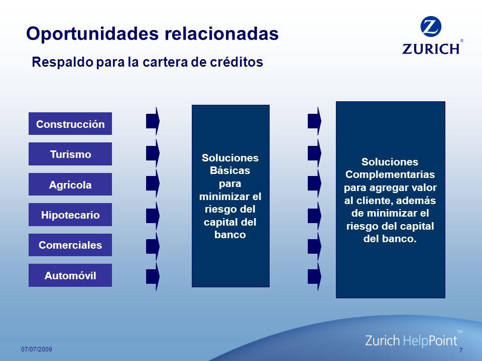 7 07/07/2009 Respaldo para la cartera de créditos Construcción Turismo Agrícola Hipotecario Comerciales Automóvil Soluciones Básicas para minimizar el