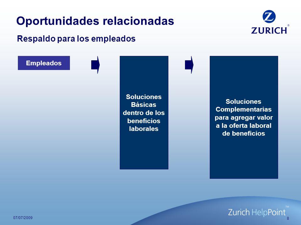 8 07/07/2009 Respaldo para los empleados Empleados Soluciones Básicas dentro de los beneficios laborales Soluciones Complementarias para agregar valor