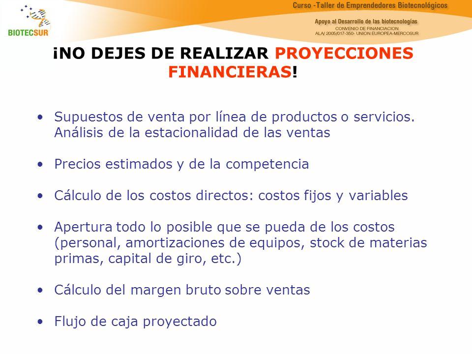 ¡NO DEJES DE REALIZAR PROYECCIONES FINANCIERAS! Supuestos de venta por línea de productos o servicios. Análisis de la estacionalidad de las ventas Pre