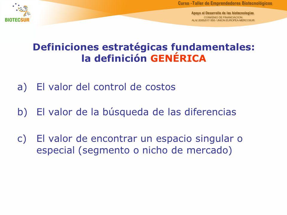 Definiciones estratégicas fundamentales: la definición GENÉRICA a)El valor del control de costos b)El valor de la búsqueda de las diferencias c)El val