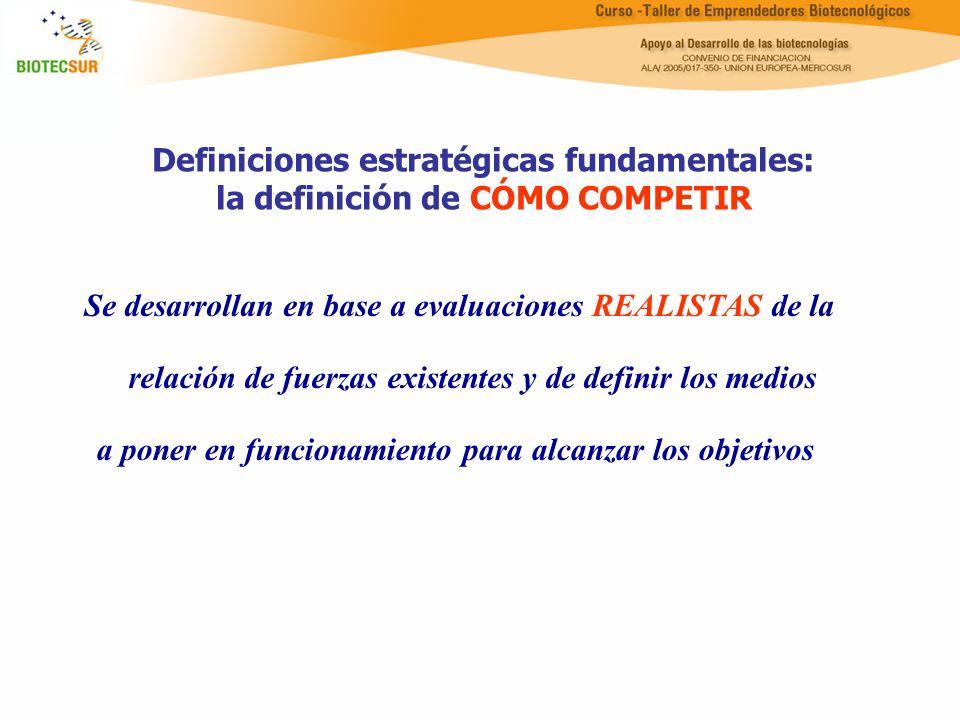 Definiciones estratégicas fundamentales: la definición de CÓMO COMPETIR Se desarrollan en base a evaluaciones REALISTAS de la relación de fuerzas exis