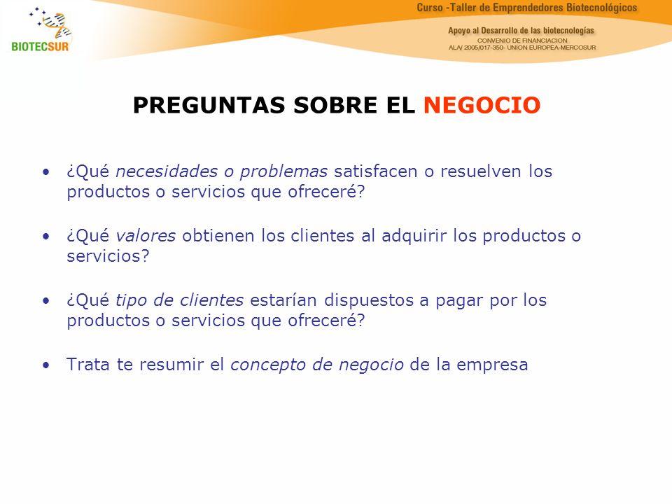 PREGUNTAS SOBRE EL NEGOCIO ¿Qué necesidades o problemas satisfacen o resuelven los productos o servicios que ofreceré? ¿Qué valores obtienen los clien