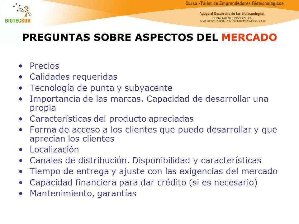 PREGUNTAS SOBRE ASPECTOS DEL MERCADO Precios Calidades requeridas Tecnología de punta y subyacente Importancia de las marcas. Capacidad de desarrollar