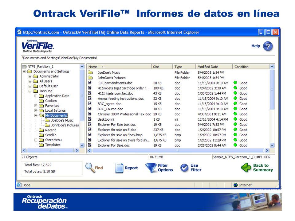 Ontrack VeriFile Informes de datos en línea