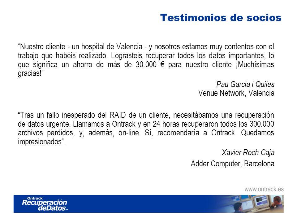 Testimonios de socios Nuestro cliente - un hospital de Valencia - y nosotros estamos muy contentos con el trabajo que habéis realizado.