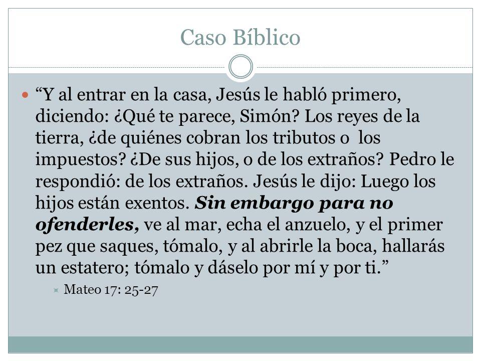 Caso Bíblico Y al entrar en la casa, Jesús le habló primero, diciendo: ¿Qué te parece, Simón? Los reyes de la tierra, ¿de quiénes cobran los tributos